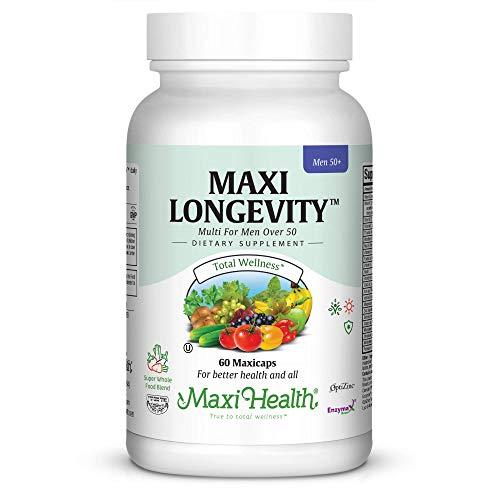 Maxi Health Longevity - Multivitamins & Minerals Supplement for Men Over 50-60 Capsules - Kosher (Best Garlic Capsules Uk)