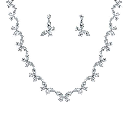 WeimanJewelry Silver White Gold Plated Butterfly CZ Cubic Zirconia Bridal Tennis Necklace and Dangling Earring Set for Women Bride Wedding Jewelry