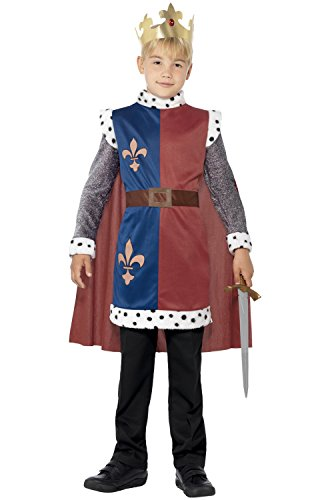 Smiffy's Children's King Arthur Medieval Costume, Tunic, Cape & Crown, Ages 7-9, Size: Medium, Color: Multi, 44079
