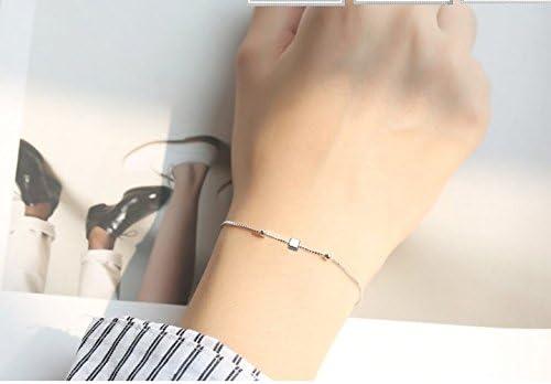 Freessom Bracelet Femme Filles Discret Amitie Longues Fome Cube Etoile Simple Original Argent 925 Cha/îne Cheville R/églable Bijoux Fantaisie A La Mode Elegant Pas Cher Anniversaire De lamour Cube