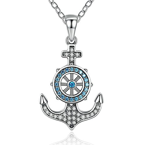 YAXING Sterling Silver Sky Blue Crystal Anchor & Rudder Pendants & Necklaces Women Boat Helm Jewelry 18
