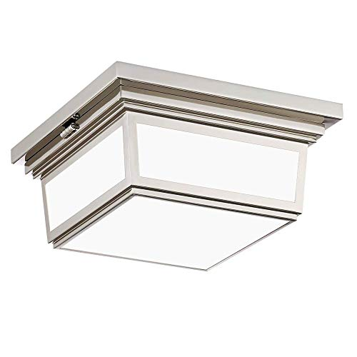 Waterbury Design Works 10007 Massey 2-Light Flush Mount Ceiling Light, Polished Nickel