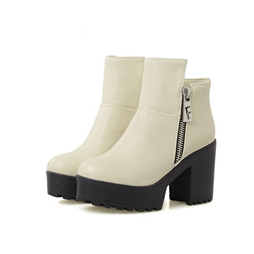 Toe Ankle Round Soft Zipper high Heels Closed Beige AgooLar High Material Boots Women's vaqASwx5