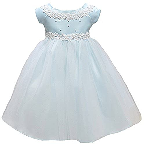 KID Collection Baby-Girls Princess Tulle Flower Girl Dress Blue - M