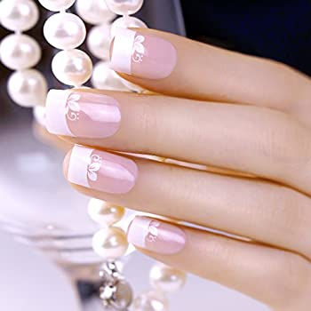 ArtPlus 24pcs White Flower False Nails French Manicure Full Cover Medium Length with Glue Fake Nails