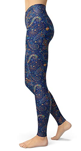 Paisley Leggings for Women Vintage Printed Brushed Buttery Soft Tights (Butterflies Paisley, Plus Size(L-2XL/Size 12-24))