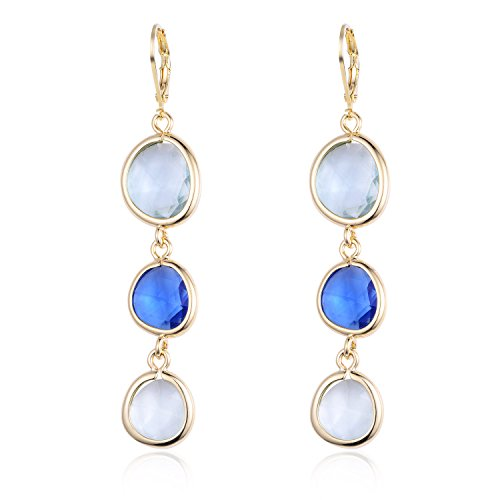 Fashion Women's Multilayer Rhinestone Diamond Triple Oval Colorful Drop Earrings ()