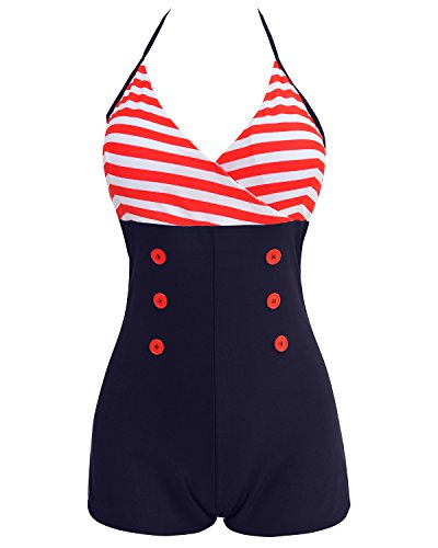 Tempt Me Women One Piece Vintage Stripe Skull Front Cross Red Buttoned Boyshort Bathing Suits Red Blue S (Sailor Pattern Stripe)