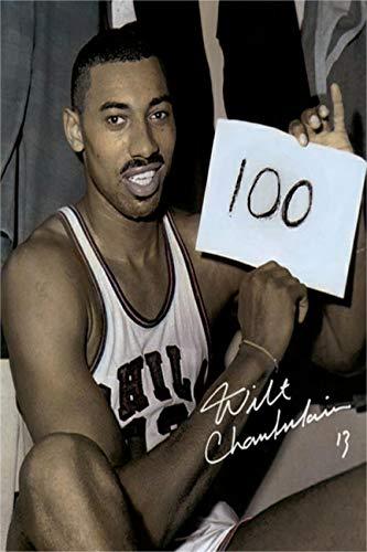 Wilt Chamberlain Autograph Replica Super Print - Holding Sign - 100 Point Game - Portrait - Unframed (Wilt Chamberlain Sign)