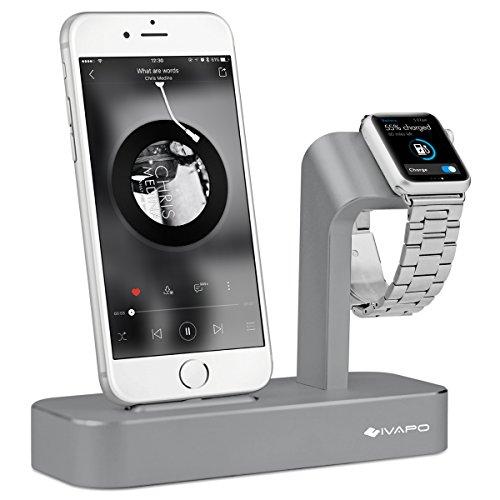 iVAPO 2 in 1 Charge Ladestation für iWatch Multifunktionelle Aluminium Halterung für Apple Watch Series 2 / Series 1 / Nike+ und iPhone 6 Plus, iPhone 6s Plus, iPhone 6, iPhone 6s , iPhone 5, iPhone5s(ohne Ladegerät und Kabel) Grau