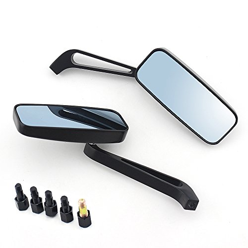 (Black Rectangle Motorcycle Bobber Mirrors Blue Mirror Reducing Glare Motorcycle Rear View Mirrors for Harley, Honda, Kawasaki, Cruise )