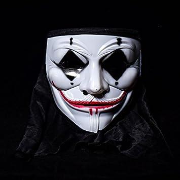 Inovey Halloween Terror Máscara De Payaso Cráneos Vendetta Mascara De Hombre para Baile Callejero De Fase - 3: Amazon.es: Hogar