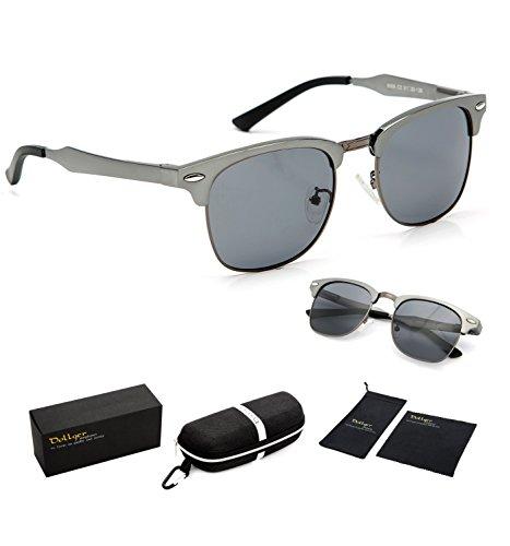 Dollger Clubmaster Polarized Wayfarer Sunglasses Horn Rimmed Half Frame ( Black Lens+Gun Frame )