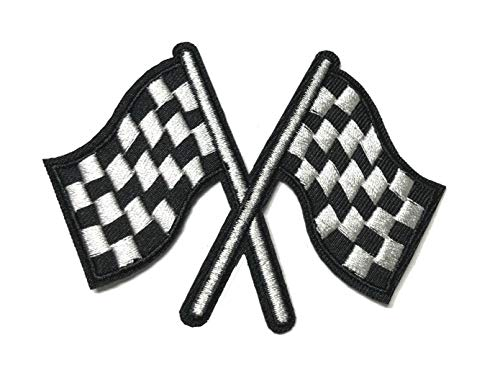 Cars Disney Iron - Checkered Racing Flags - Embroidered Patch Race Car Series Logo Theme Iron or Sew-on Uniform Emblem Badge DIY Appliques Application