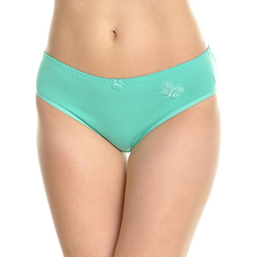 Angelina 12-Pack Embroidered Butterfly Design Cotton Mid-Rise Bikinis, (Embroidered Nylon Briefs)