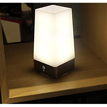 WRalwaysLX 3 Modes Battery Powered Small Table Lamp,Bedside Lamp Wireless  PIR Motion Sensor LED