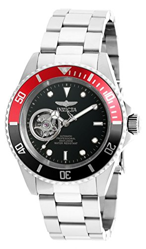 Invicta Men's 'Pro Diver' Stainless Steel Automatic Watch, Color:Silver-Toned (Model: 20435) (Invicta Black And Red)