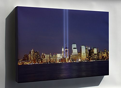 Canvas 24x36; World Trade Center Memorial Tribute In Light Viewed From Jersey City On The Anniversary Of The Attacks In 2004