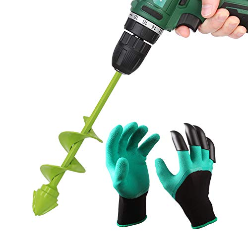 UGarden Bulb & Bedding Plant Auger, with Backyard Genie Gloves, Backyard Plant Flower Bulb Auger 2″ x 9″ Speedy Planter, Non-Slip Hex Drive suits Any 3/8-inch Drill. (Three Circles)
