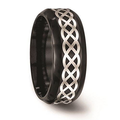 Titanium Black Ti w/Sterling Silver Inlay Celtic Design 9mm Wedding Band Size 10.5 by Edward Mirell by Venture Edward Mirell Titanium Bands (Image #5)