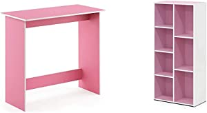 FURINNO Simplistic Study Table, Pink & 7-Cube Reversible Open Shelf, White/Pink 11048WH/PI