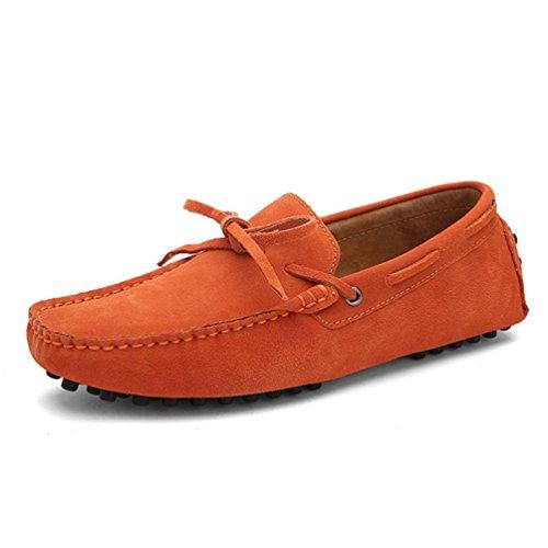 Gamuza Zapatos Cuero ConduccióN Casual Pisos Mocasines Naranja Hombres Vaca MocasíN Zapatos De Hombres Tq1nC