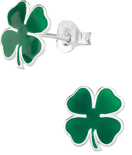 .925 Sterling Silver Lucky Green Four Le - Shamrock Four Leaf Clover Shopping Results