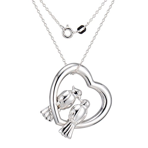 (Morgan & Paige Rhodium Plated Sterling Silver Love Bird Parrots Pendant Necklace, 18