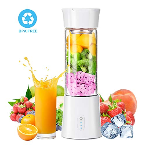Portable Blender with 12 oz Travel Cup and Lid, USB Rechargeable Personal Smoothie Blender, Cordless Handheld Small Mini Single Serve Juicer Blender (Best Single Serve Blender 2019)