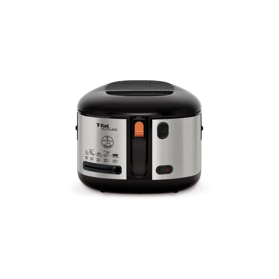 T fal FF172D52 Filtra One Brushed Stainless Steel 1,600 Watt Cool Touch Exterior Electric Deep Fryer, Silver