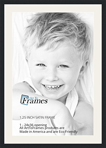 ArtToFrames 24 x 36 Inch Opening Single Mat with a Satin Bla