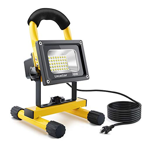 (Ustellar 1600LM 20W LED Work Light (150W Equivalent), Waterproof LED Flood Lights, 16ft/5M Cord with Plug, Stand Industrial Working Light for Workshop, Construction Site, 6000K Daylight White)