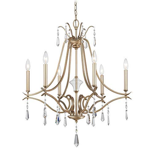 Image of Minka Lavery 4446-582 Laurel Estate Crystal Chandelier Lighting, 6-Light 360 Watts, Brio Gold Home Improvements