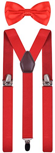 BODY STRENTH Infant's Bow Tie and Suspenders Adjustable Red 26 Inches ()