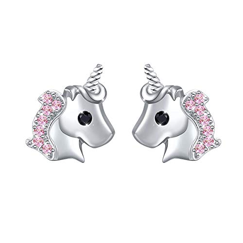 Yearace 925 Sterling Silver Unicorn Gift Cute Cz Unicorn Earring Jewelry for Women Teen Girls Kids Children (Pink)
