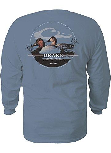 Martin Long Sleeve Denim Shirt (Drake Waterfowl Canvas Back Oval Long Sleeve T-Shirt,Blue Jean (XL))