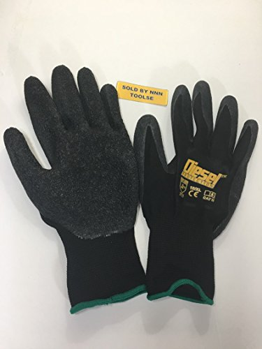 Price comparison product image Large / 6 Pair Diesel Black Safety Gloves Latex Coated Grip Cut Resistant