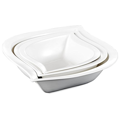 Ivory Coupe - Malacasa, Series Elvira, 3-Piece Ivory White Porcelain Ceramic Soup Cereals Bowls, 7