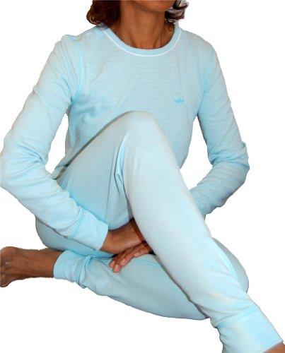 2 Piece Set Top and Bottom Ladies Ski Long Johns Thermal Underwear Baby Blue-L - Ladies 2 Piece Thermal