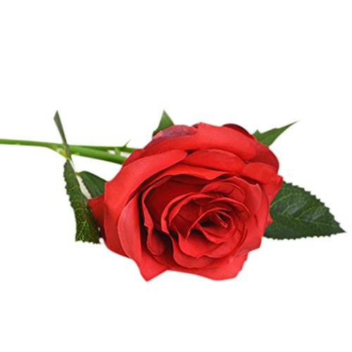 Compia New Fashion Rose Fake Artificial Silk Flower Wedding Party Bridal Bouquet Home Decor (Red)
