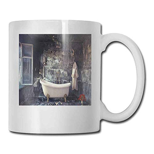 Antique Cup Mug Bathtub in Old Room Bathroom Fresh Flower Bouquet Vase Victorian Retro Style Funny Gift White Brown Grey 11oz