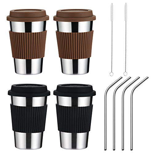 WORTHBUY Premium Stainless Steel Cups 16oz Pint Cup Tumbler with Spill-proof Silicone Lid and Metal Straws, Metal Cups, Stackable Durable Cup(4 Pack)