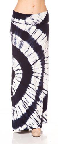 (A.S Tie Dye Big Circle Lovely Drape Fold Over Waist Maxi Long Skirt (Medium,)