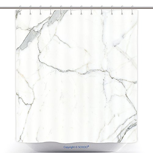 - vanfan-Polyester Shower Curtains Carrara Marble Marble Texture White Stone Background Bianco Venatino Marble Polyester Bathroom Shower Curtain Set Hooks(36 x 72 inches)