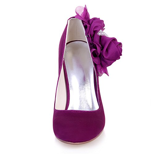 Shoes Party Satin Women's Court 11 Pearl Prom Toe Sarahbridal Pointed Flower Szxf5623 Wedding Bridal Silver q04zt1nx
