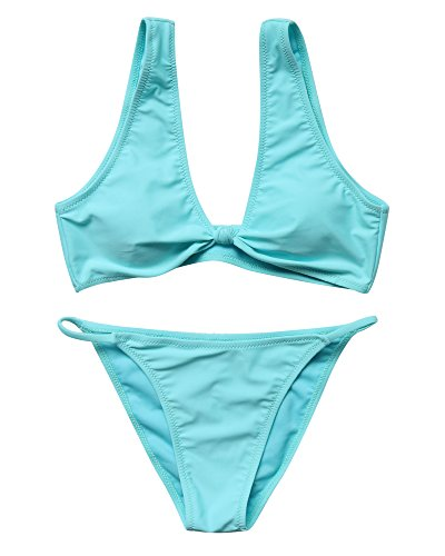 MOSHENGQI Women 2 Piece V Neck Solid Color Swimsuit Bathing Suit