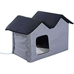 Pawhut Heated Outdoor Cat Shelter - Brown (Double, Gray)