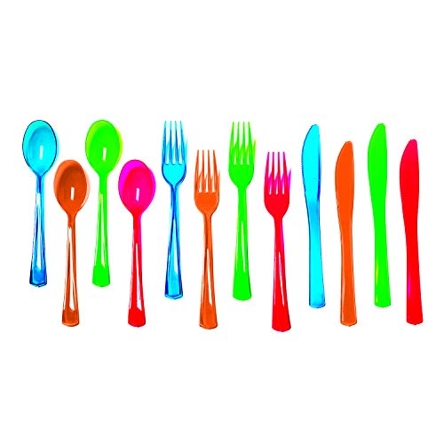 Party Essentials Heavy-Duty Hard Plastic Cutlery Combo Pack, 288 Pieces/96 Place Settings, Assorted Neon Brights