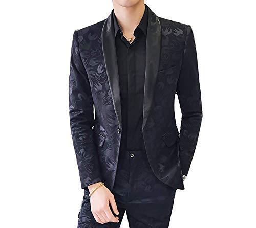Leisure Elegante manica da Giacca lunga casual nera uomo Slim Vintage Fit Blazer WIYbED9eH2