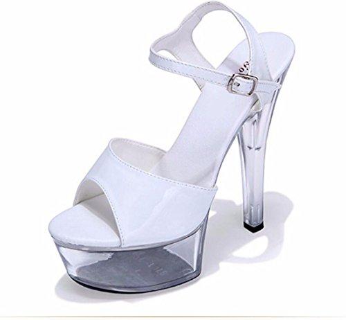 Tacones Mujer De Tacones De 15Cm Super Modelo De Shoes Sexy Zapatos Fondo Crystal GTVERNH Sandals Hebillas de white Delgada Impermeable Grueso Plataformas Zapatos wOUzqWE